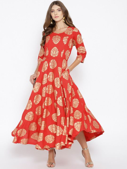 eae16bff7b5 Ayaany Women Red   Golden Printed Maxi Dress -