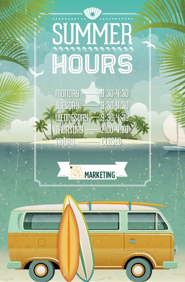 Check Out Our New Office Door Sign And Summer Hours Caitlin Carlia Faella Vintage SurfVintage