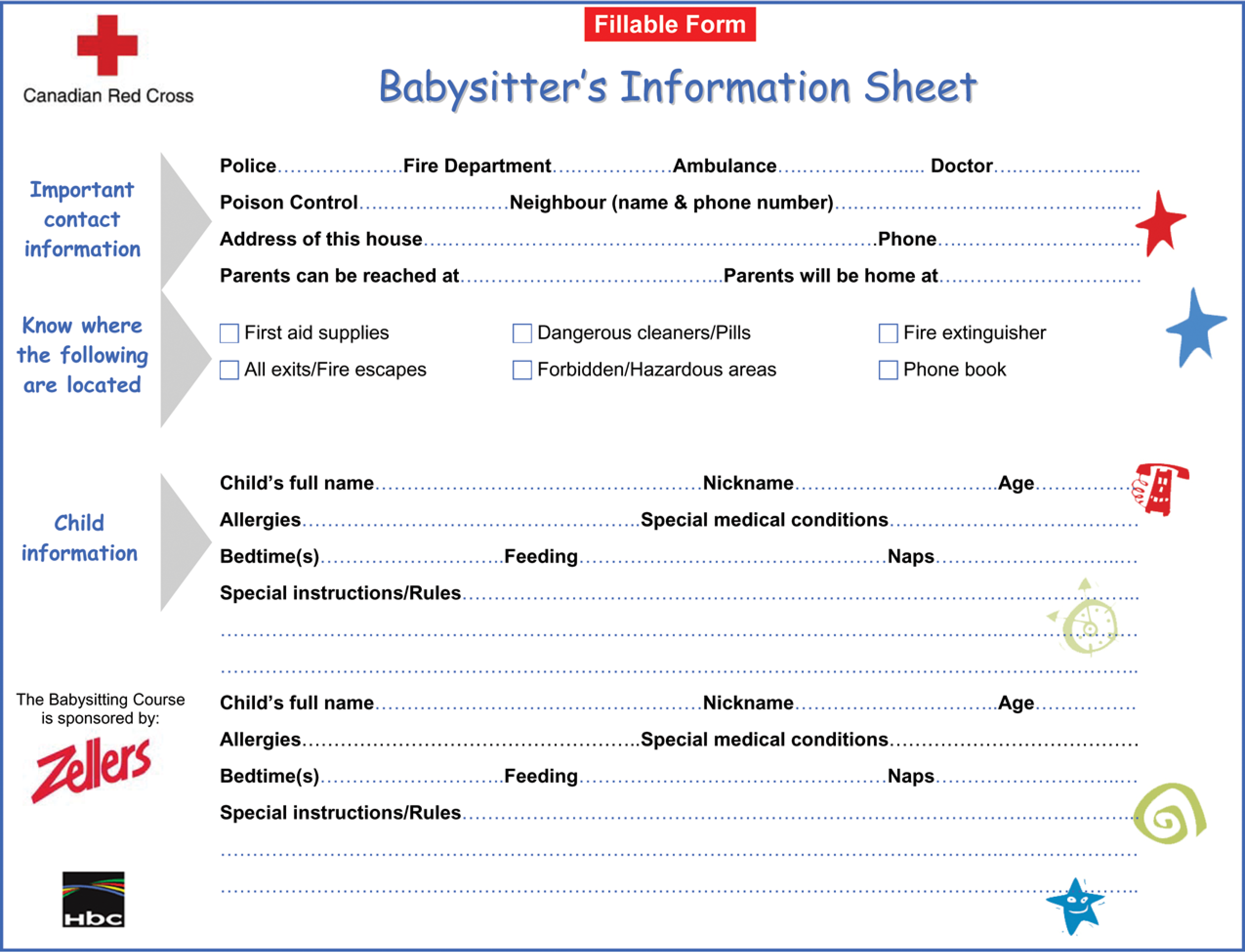 Printable Babysitter Information Sheet Main Image With