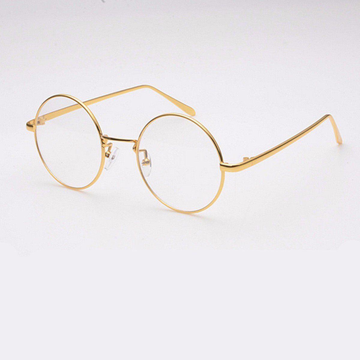 b343cb2e49c4 GOLD Metal Vintage Round Eyeglass Frame Clear Lens Full-Rim Glasses sold  out - Banggood