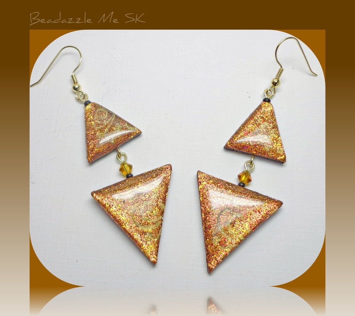 Clay Triangle Drawing Bronze Triangle Dangle Earrings Polymer Clay Jewelry 15