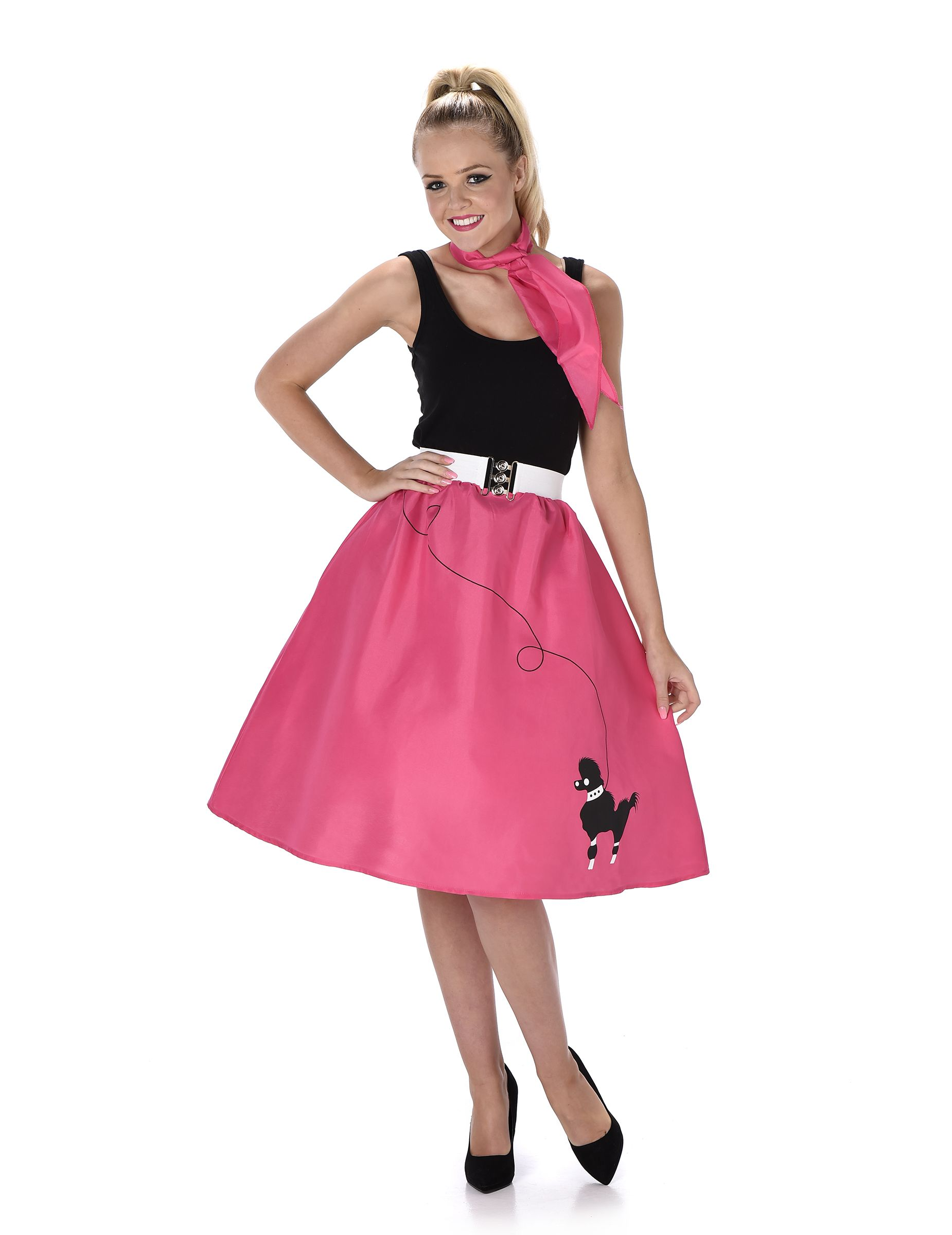 Disfraz rosa años 50 mujer  Este disfraz original incluye falda y pañuelo  (camiseta y zapatos no incluidos).La falda es rosa fucsia con un perro  negro ... 187c1e19fb4