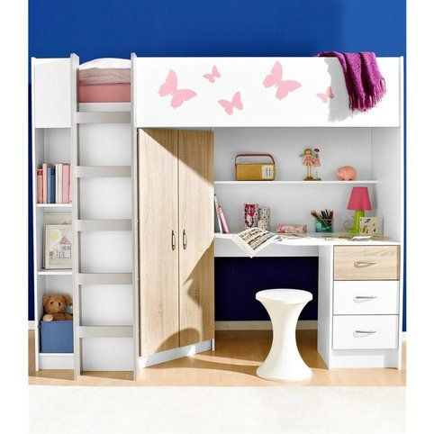 Lit Mezzanine Avec Plan De Travail Armoire Etageres Blanc Decor Chene Vue 1 Amenagement Chambre Enfant Lit Plan De Maison A Etage