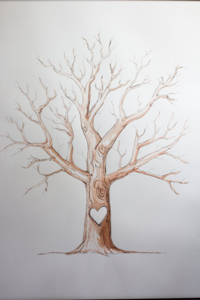 Love the thumb print tree as a teacher appreciation card thank erica custom drawn finger print tree guest book 22 x pronofoot35fo Gallery