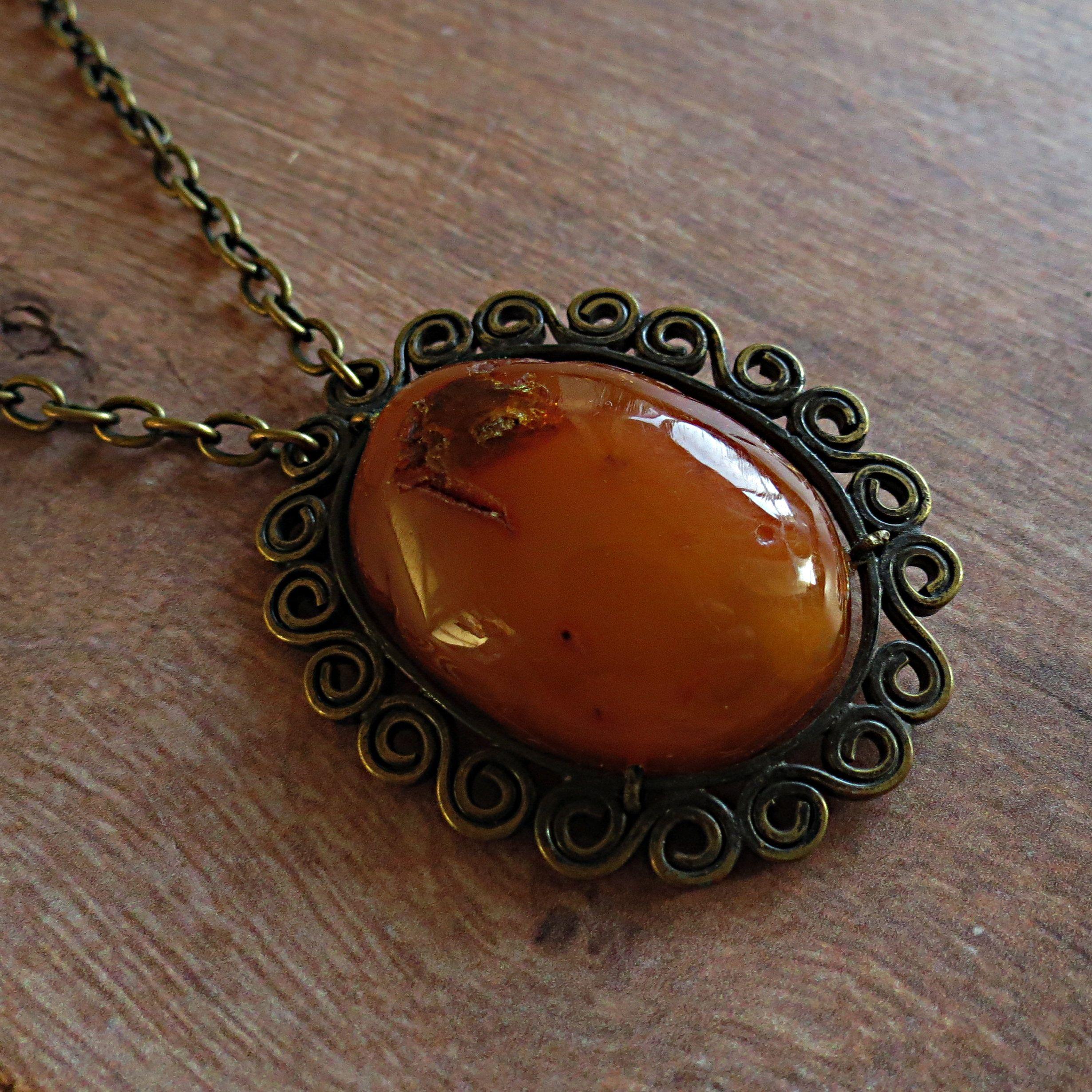 Vintage Natural Amber Necklace 62cm