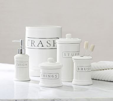 Ceramic Text Bath Accessories Potterybarn Bathrooms Pinterest