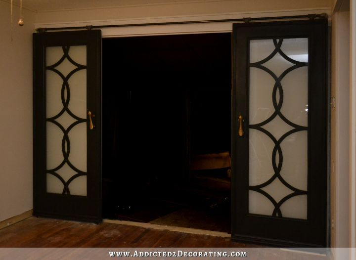 DIY French Doors With Circle Fretwork Panels, Installed On Rolling Barn Door Style  Hardware