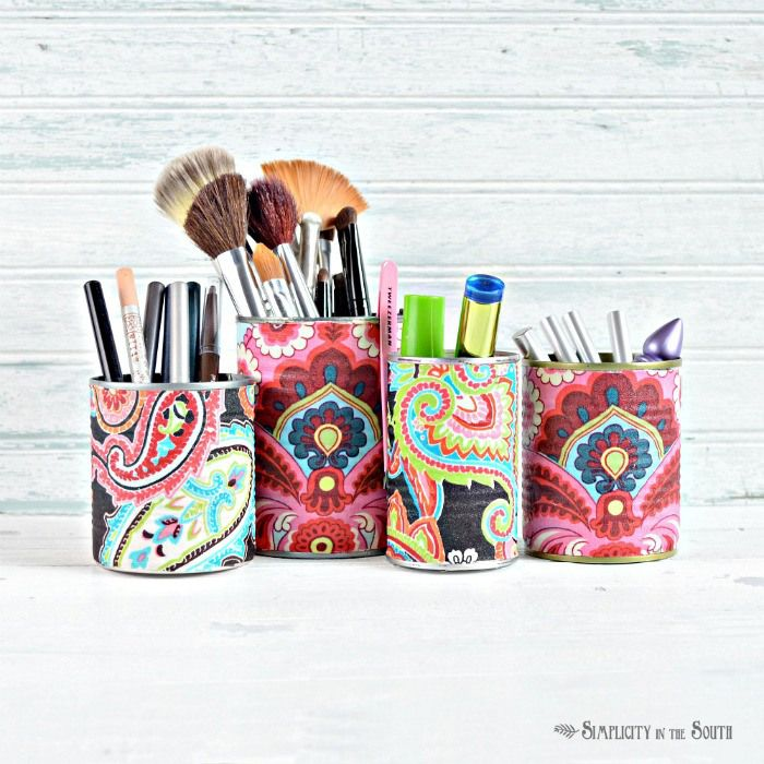 easy makeup organization using fabric covered cans | Simplicity in the South