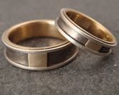 Wedding Band Set - Titanium, Sterling Silver, and 14k Gold Rings