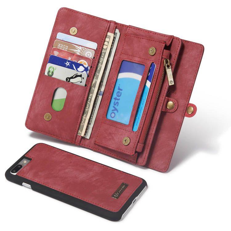 Caseme iphone 8 plus wallet detachable folio case red