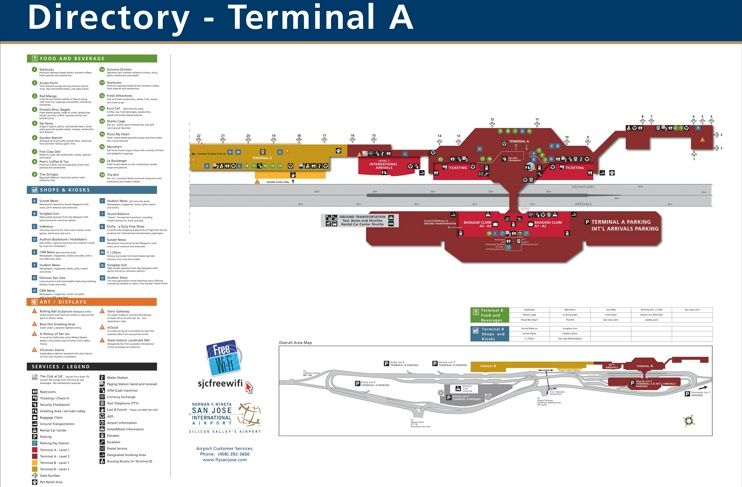 San Jose airport terminal A map  Maps  Pinterest  San jose Usa