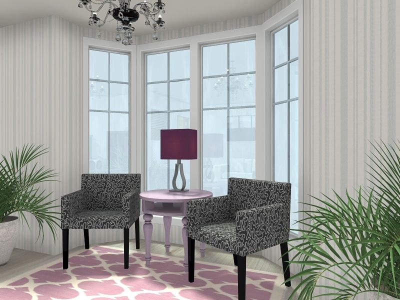 3d Floor Plan For A Living Room With A Bay Window And