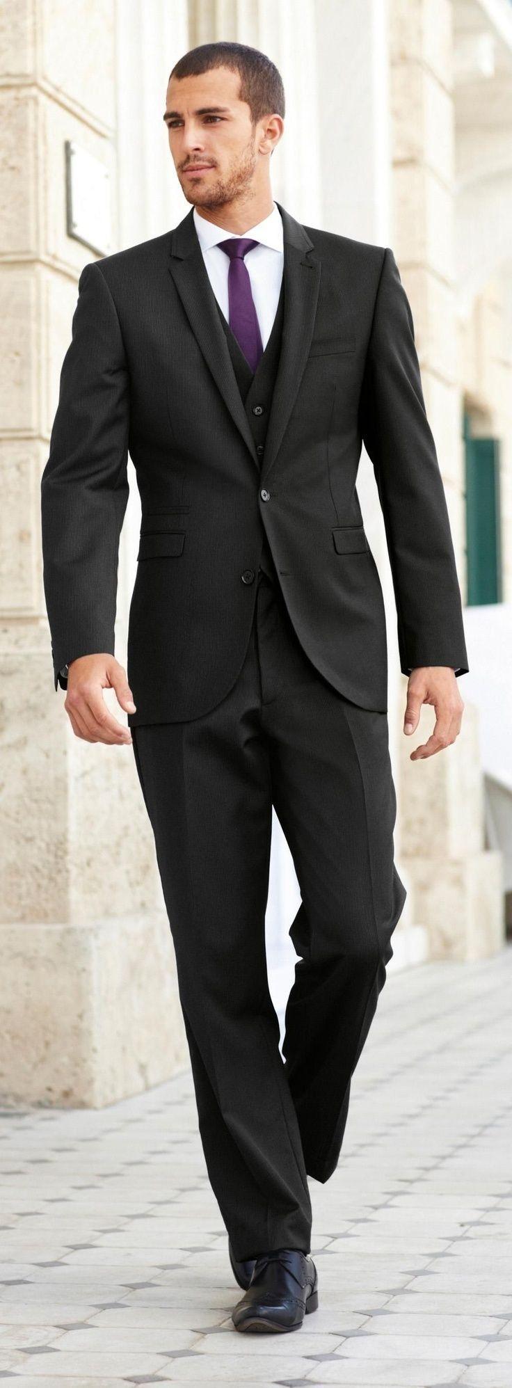 Men S Black Three Piece Suit White Dress Shirt Black Leather Brogues Dark Purple Tie Wedding Suits Men Black Purple Suits Black Three Piece Suit [ 1995 x 736 Pixel ]