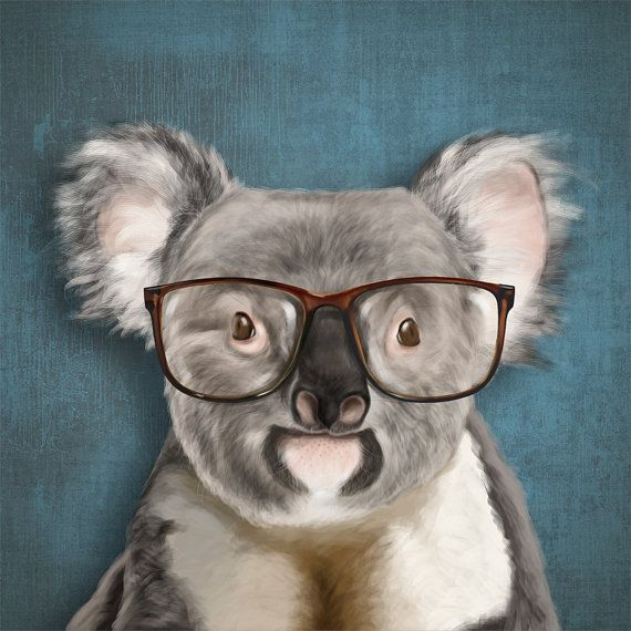 A Smiling Koala With Glasses On Blue Background Print 6x6 Illustration Photographic Paper