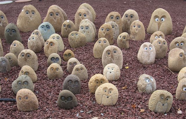 Sunday Scene: Stoney owls in Aquebogue... Our staff photographer Barbaraellen Koch snapped this photo of these ornamental stone owls at Verderber's Landscape Nursery and Garden Center in Aquebogue.