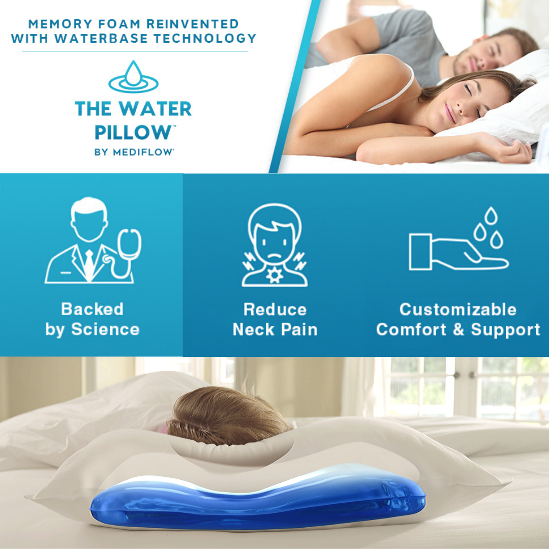 Why Choose A Mediflow Waterpillow Personalize To Your Comfort By Adding Or Removing Water Waterbase Adj In 2020 Water Pillow Therapeutic Pillows Pillows