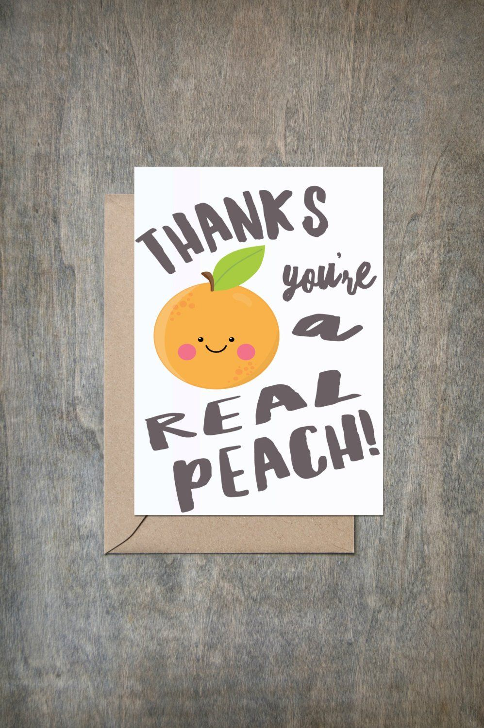 Thanks You're a Real Peach. Funny Thank You card. Funny Friend Card. Thank You card. Thank You Cards. Thank You Gift. Mature.