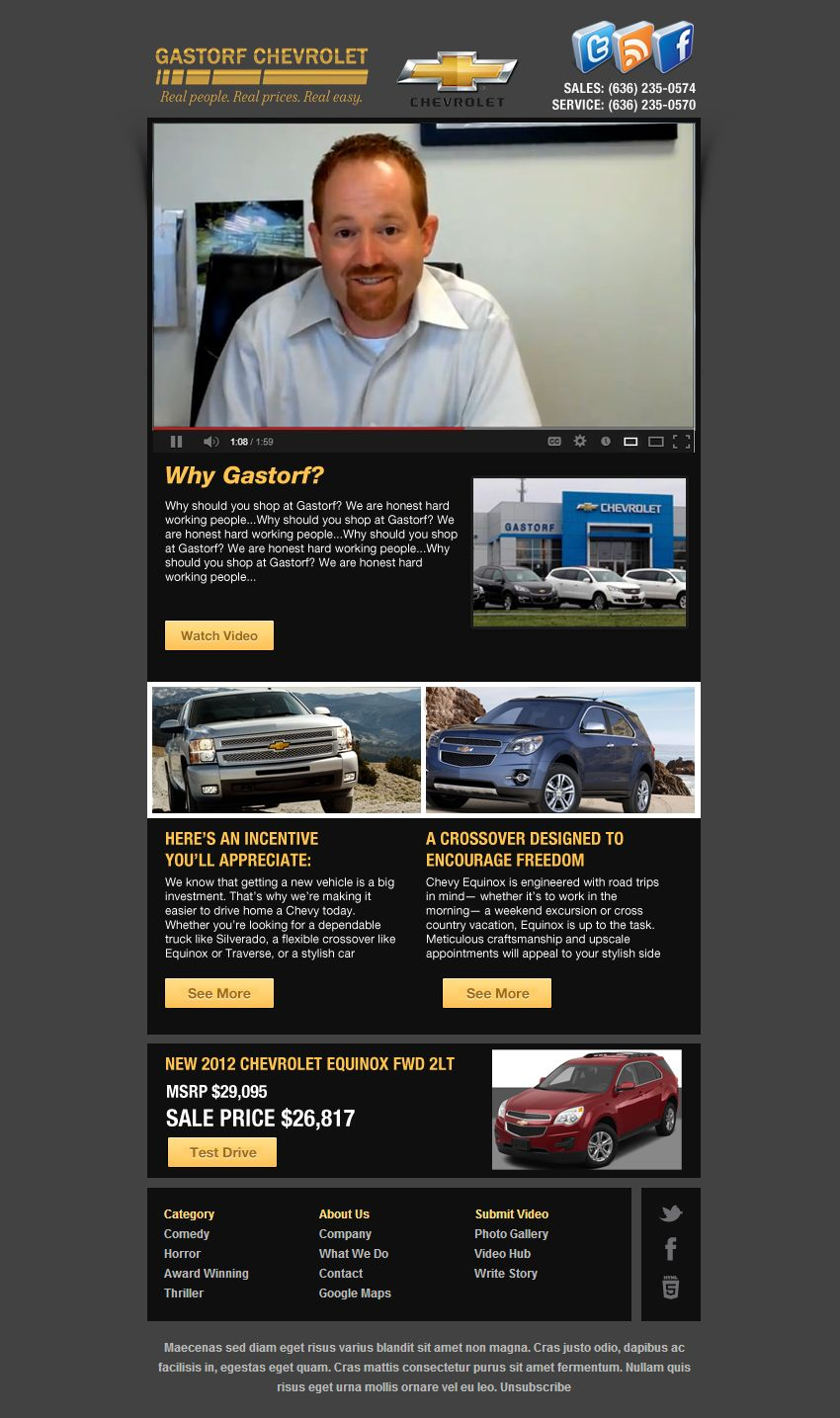 Gastorf Chevrolet Email Marketing Mockup