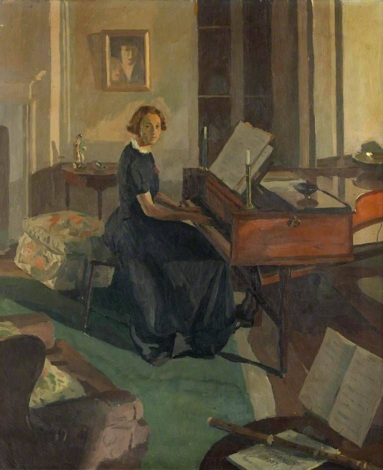 Alice Ashley At A Piano Donald Chisholm Towner British 1903 1985 Oil On Canvas 76 X 63 Cm 1936 Burgh House And Hampstead Museum Piano Art Art Painting