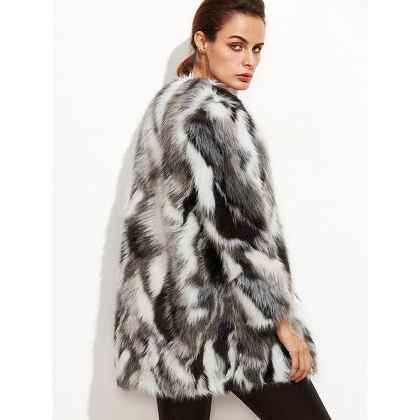a42c3858b7 SheIn(sheinside) Multicolor Faux Fur Collarless Coat ($46) ❤ liked on Polyvore  featuring outerwear, coats, color block coat, short white coat, short  sleeve ...