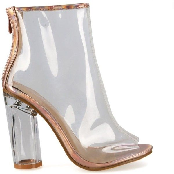 c41408b1bf3 Clear-24 Rose Gold Clear Peep Toe Perspex Chunky Heel Ankle Booties ( 30) ❤  liked on Polyvore featuring shoes