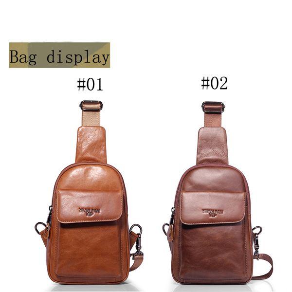 Men Soft Leather Crossbody Bag Multi-function Vintage Chest Bag Camera Bag