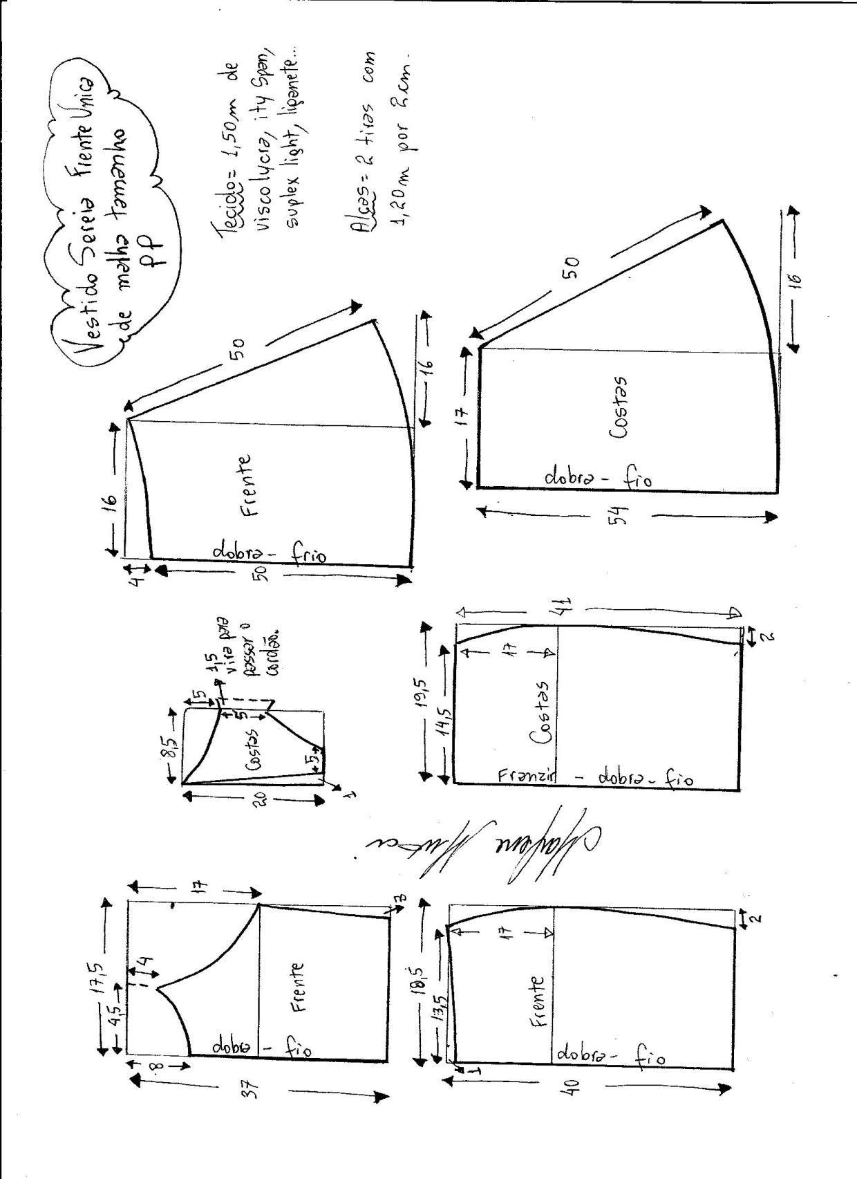 Esquema de modelagem de vestido sereia frente única para malha tamanho PP.