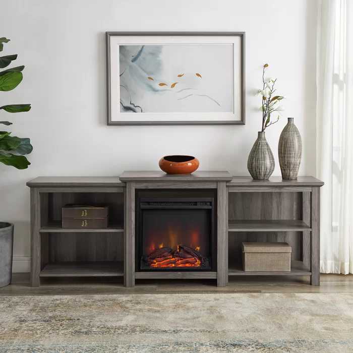 Woodbury Tv Stand For Tvs Up To 78 With Fireplace Included In 2020 Fireplace Tv Stand Rustic Tv Stand Fireplace Media Console