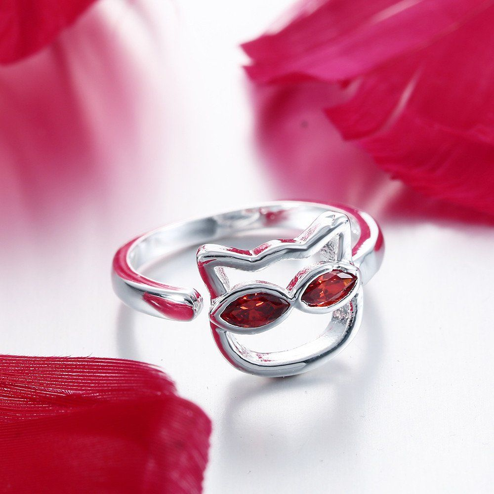 Cute Cat Silver Plated Ring For Women