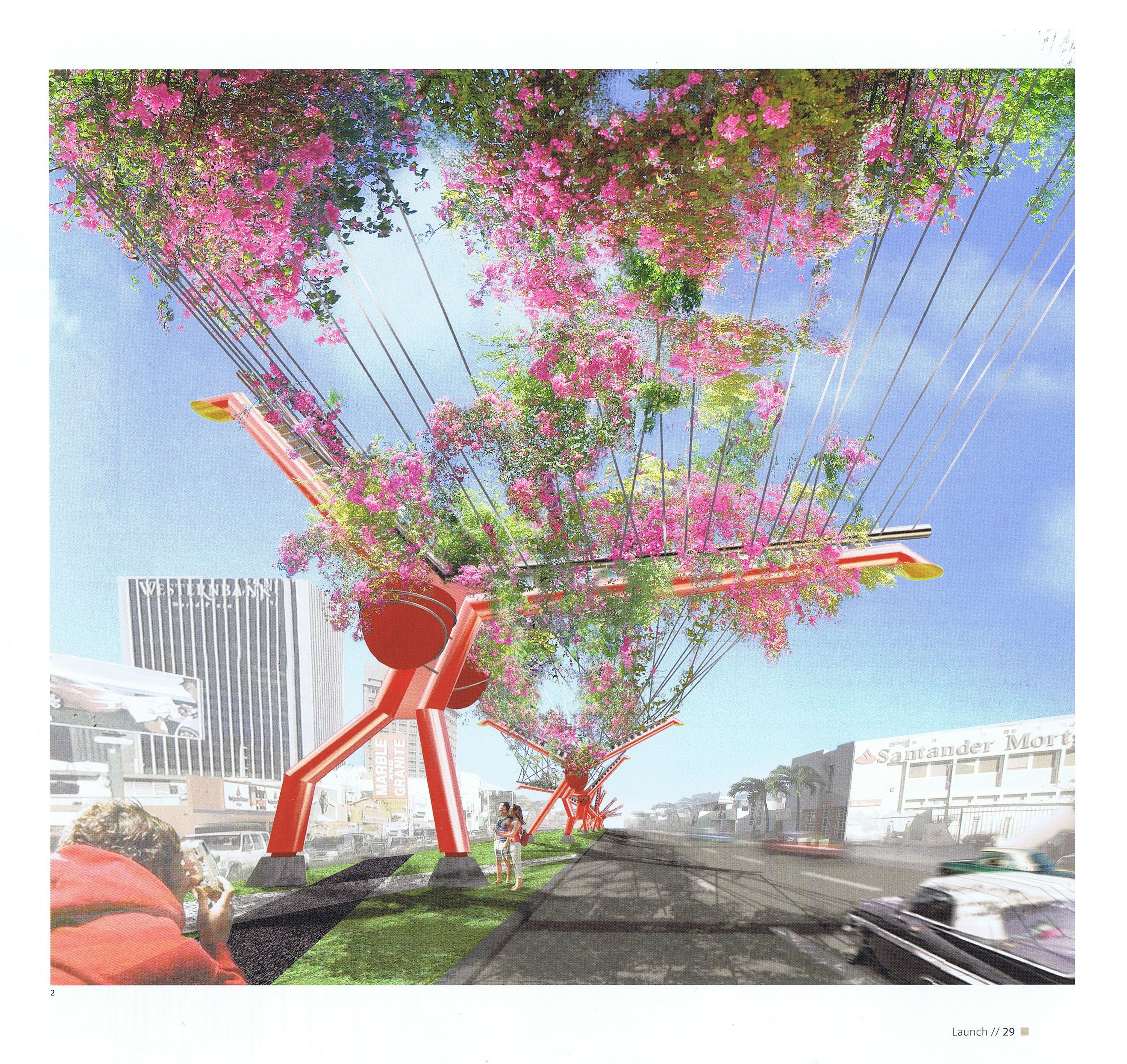 Palio de Bougainvilleas, Avenida Roosevelt, San Juan Puerto Rico  Wind Adapted Road Canopy Structure// West 8