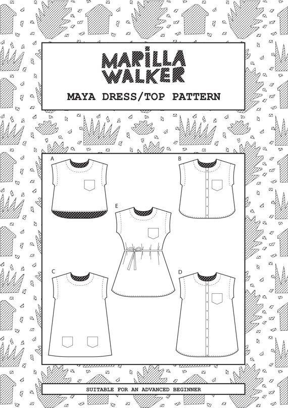 PDF Maya dress and top sewing pattern von MarillaWalker auf Etsy ...
