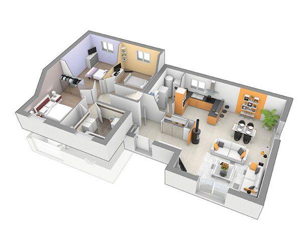 Maison contemporaine à étage Mélodie de printemps PLANS