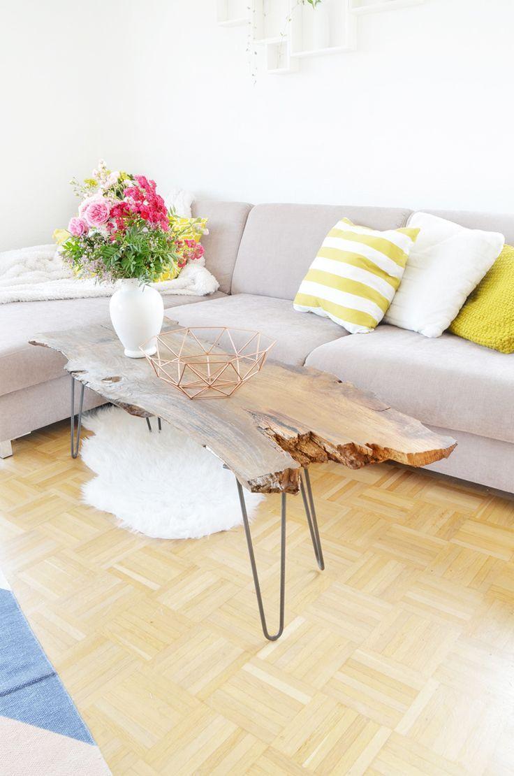Vintage wohnzimmertisch do it yourself möbel couchtisch aus massivholz eiche selber