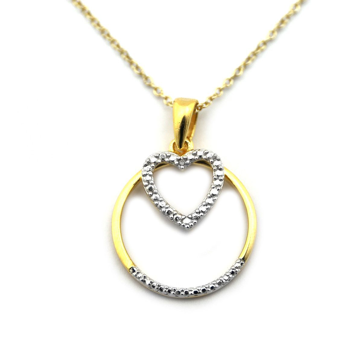 K Yellow Gold over Sterling Silver ct Diamond Open Heart in a