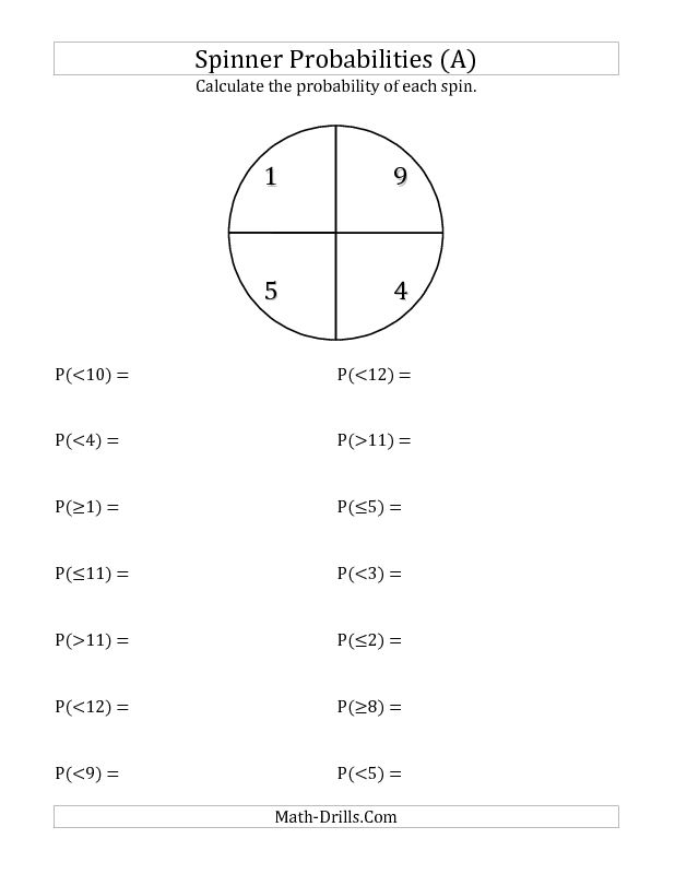 Probability Worksheet 4 Section Spinner Probabilities A