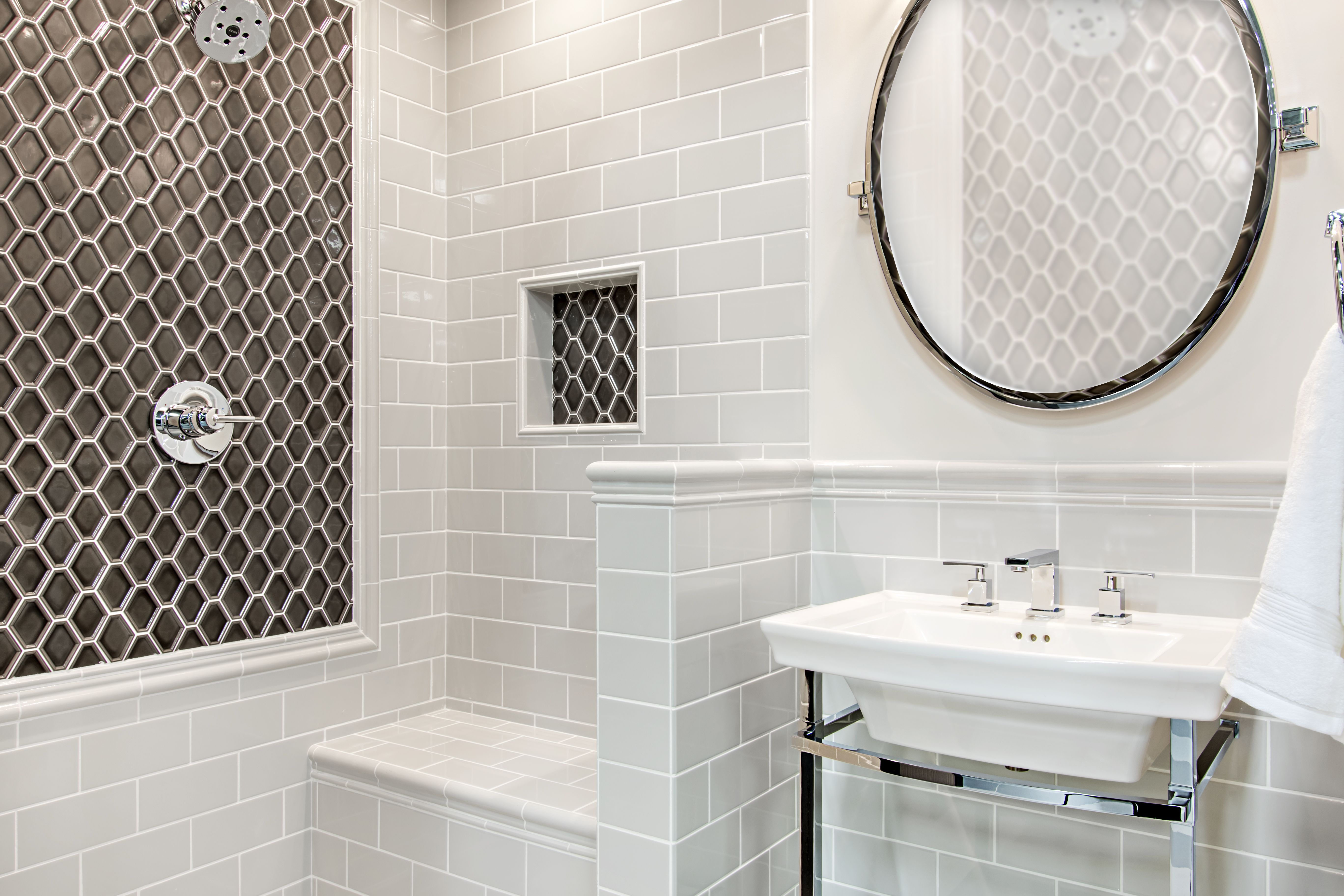 A Clean And Elegant Look For Your Bathroom Space This Warm Grey Hue Subway Bathroom Wall Tile Will Open Your Bat The Tile Shop Wall Tiles Bathroom Wall Tile