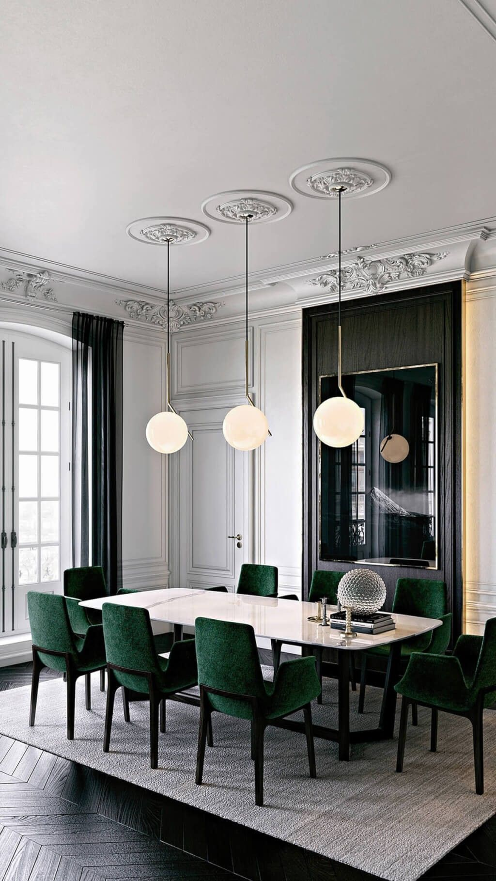 White wall emerald green accents | Luxury dining, Luxury ...