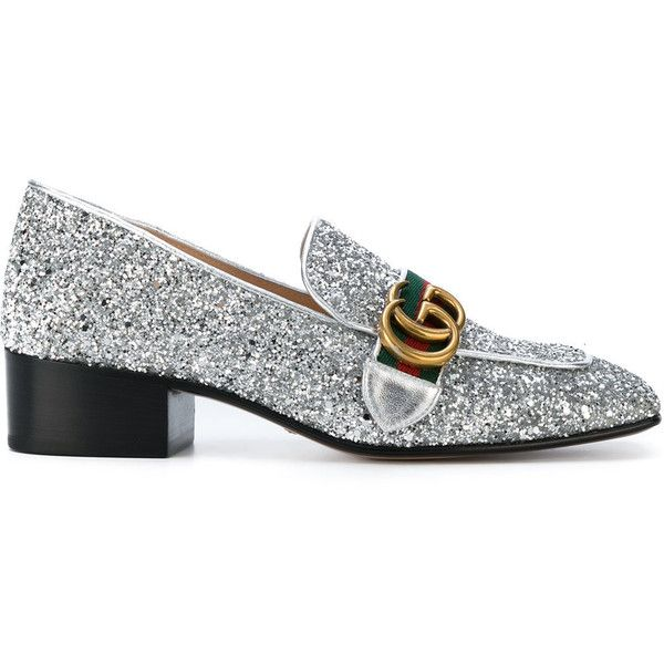 ff23c7bc627 Gucci GG Web glitter loafers ( 895) ❤ liked on Polyvore featuring shoes