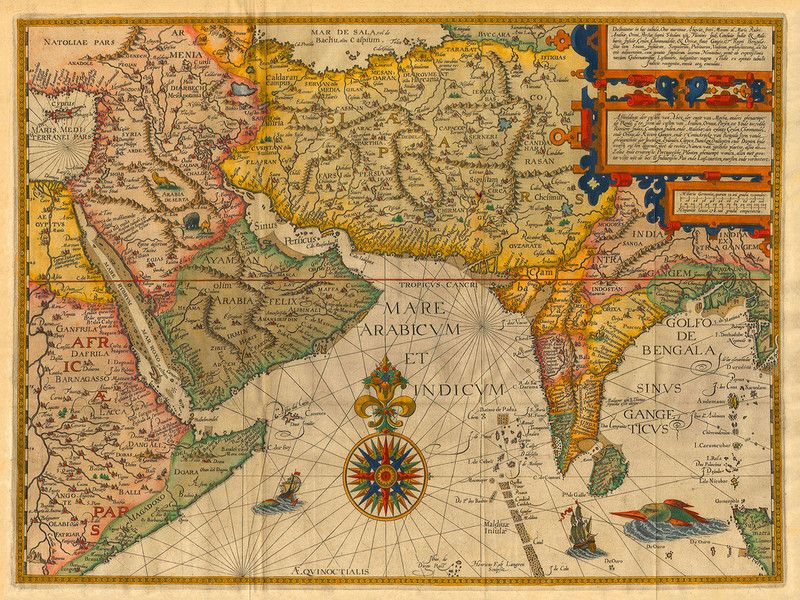 Indian Ocean Arabian Peninsula  Indian Subcontinent 1596  Old