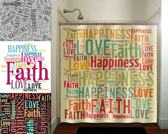 Faith Love Happiness Peace Shower Curtain Extra Long Fabric Etsy Unique Shower Curtain Faith In Love Shower Curtain