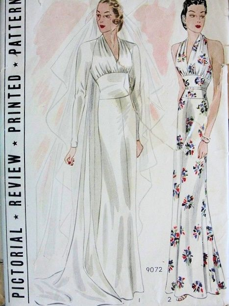 1b4bb40461d7 1930s ART DECO WEDDING DRESS BRIDAL EVENING GOWN PATTERN GORGEOUS  STYLE