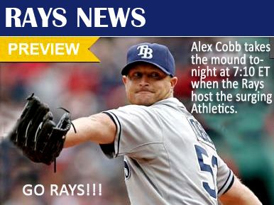 TAMPA BAY RAYS - Alex Cobb will start tonight's game for the Rays!