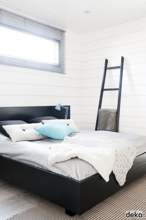 50 Amazing Scandinavian Bedroom Designs: 50 Amazing Scandinavian Bedroom  Designs With Black Bed Pallet And White Cashion And Bed Color Design