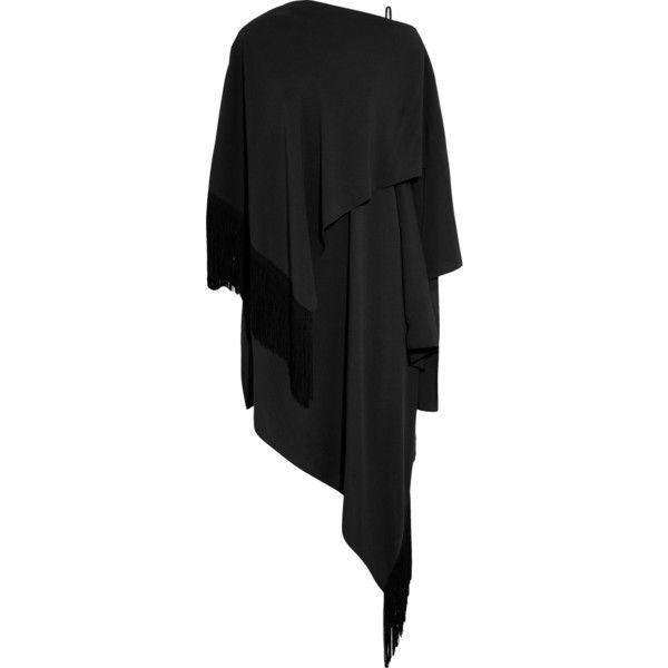 Balenciaga Asymmetric tasseled crepe dress (€1.795) ❤ liked on Polyvore featuring dresses, black, slip on dress, asymmetrical draped dress, loose fit dress, asymmetrical hem dress and tassle dress