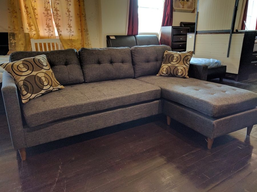 modern grey tufted sectional sofa with throw pillows found for rh pinterest com