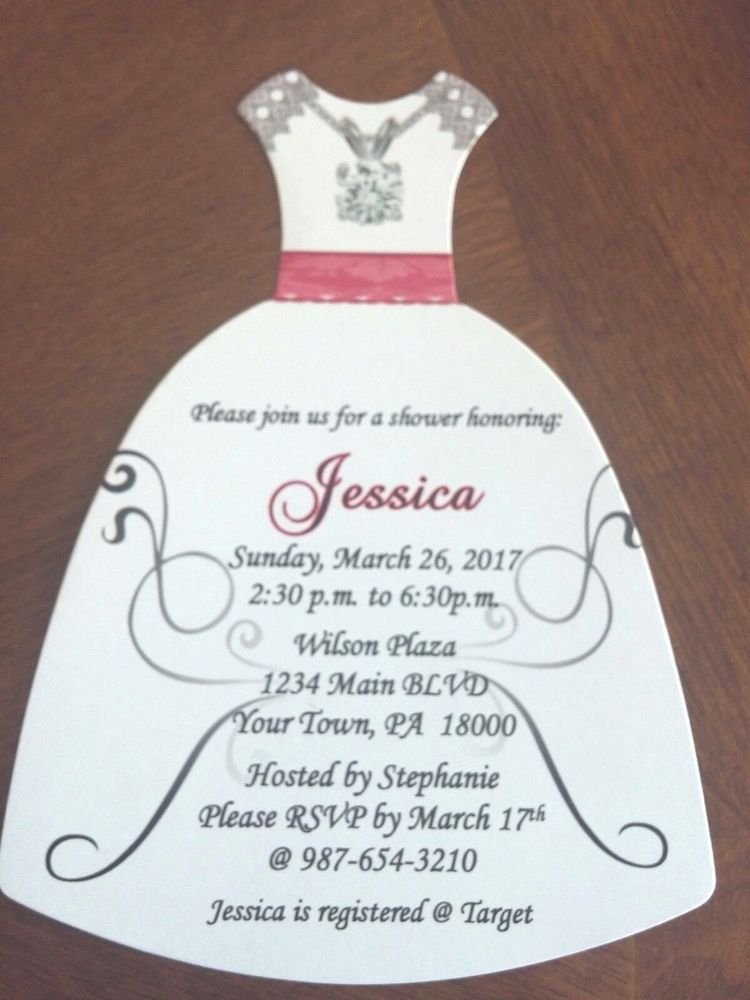 pink black and white bridal shower invitations%0A    Hot Pink  Black  u     White Dress Shaped Bridal Shower Invites w  Envelopes
