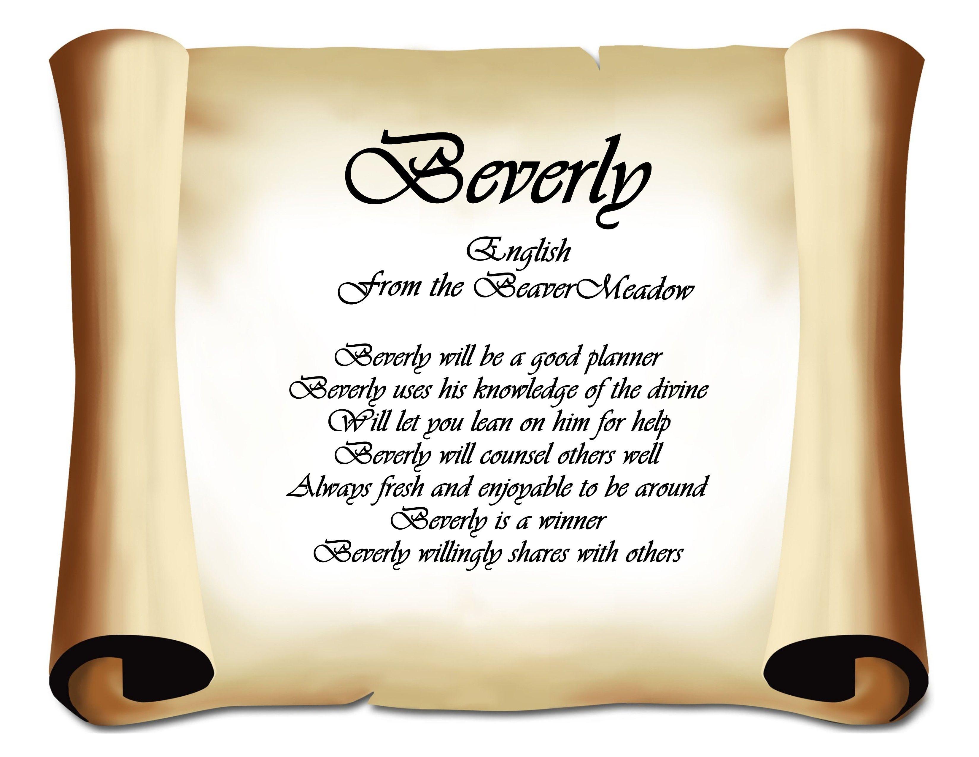 Beverly Name Keepsake Print | First Name, Scripture ...  Beverly Name Ke...