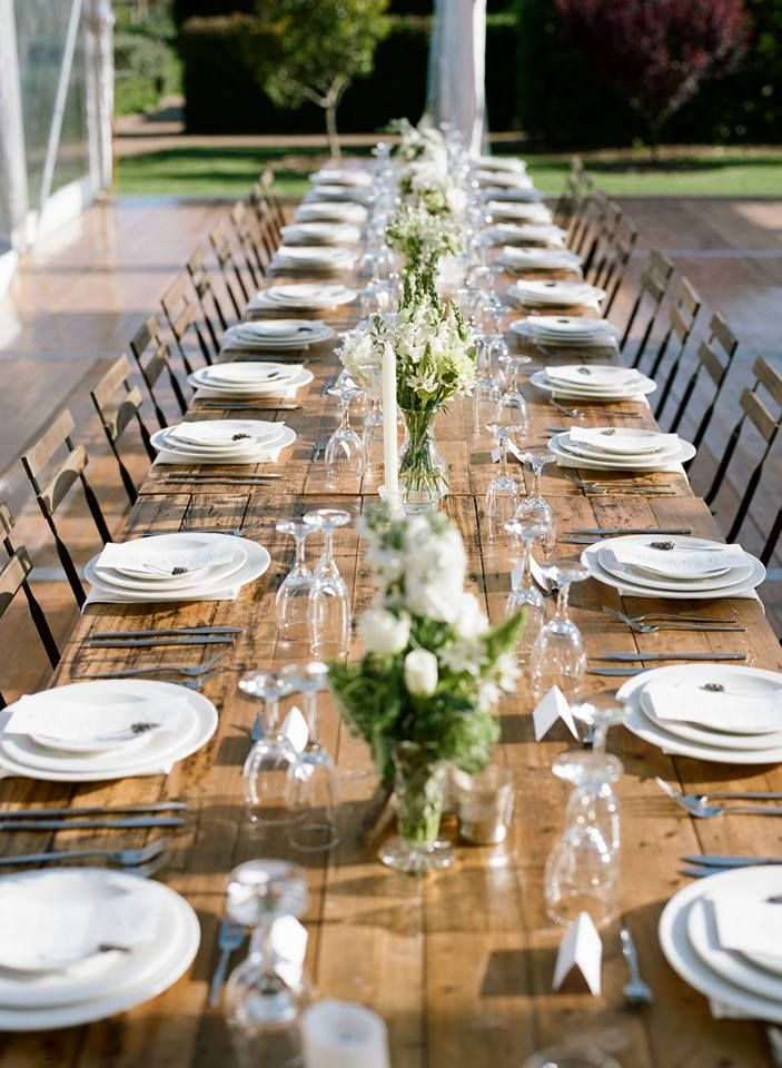 white and green flowers down centre of wooden tables with green rh pinterest com