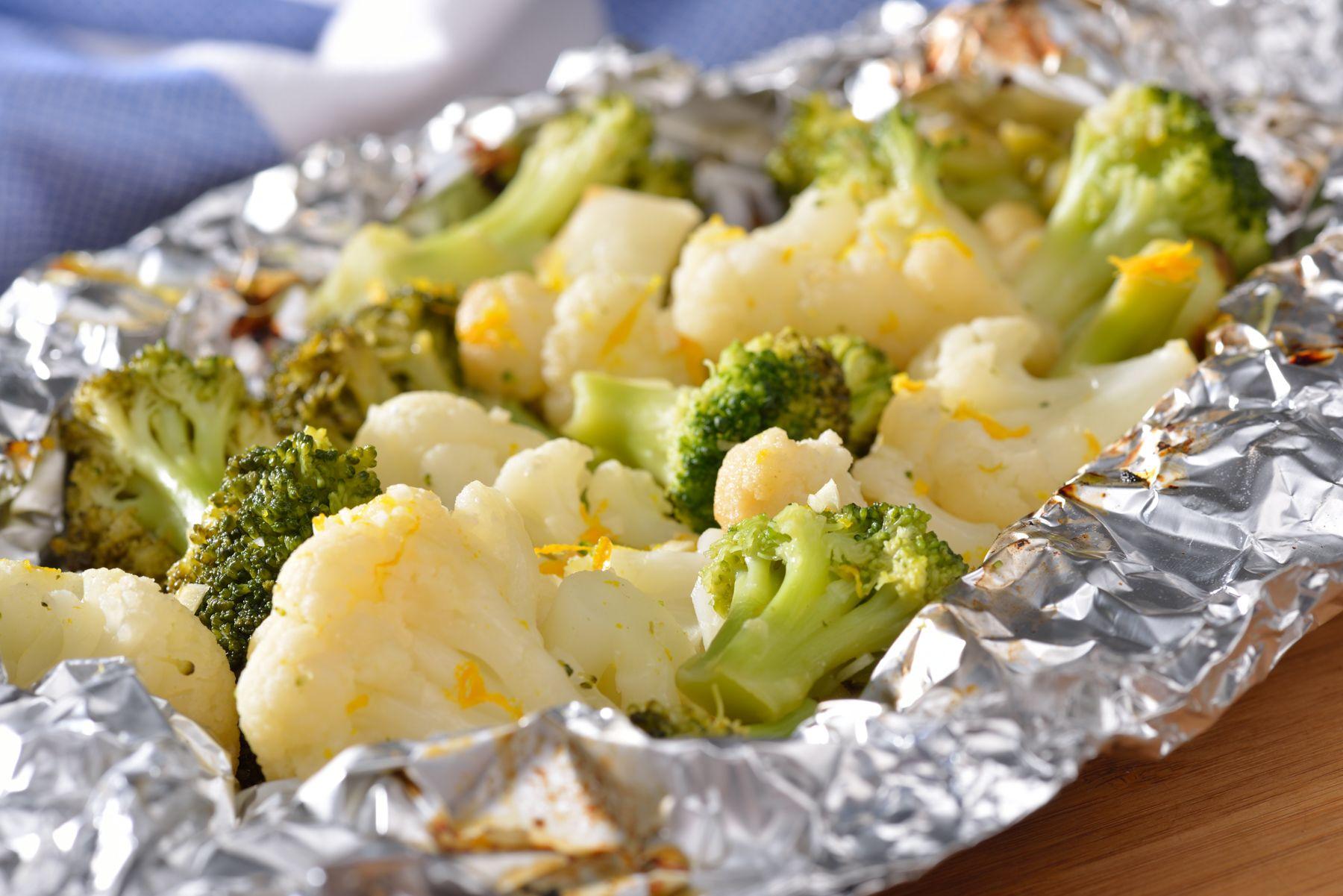 Grilled orange glazed broccoli cauliflower birdseye