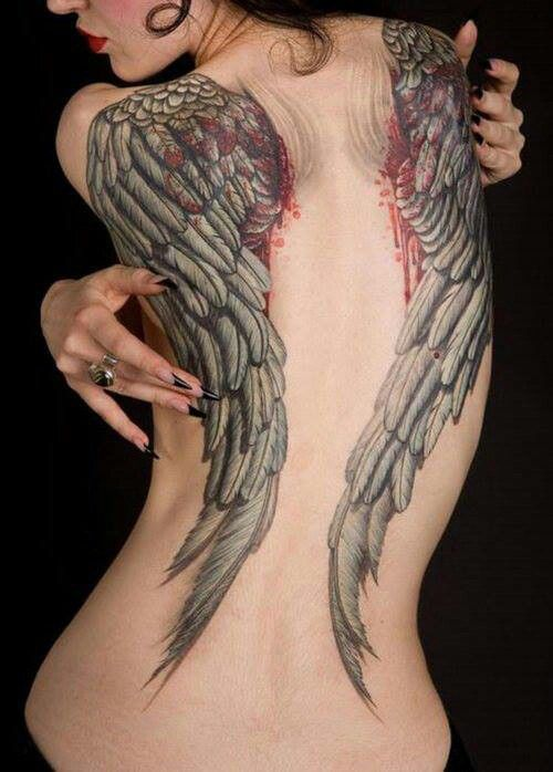 Hot pornstar angel wings tattoo